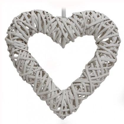 Proutěné srdce - bílé L