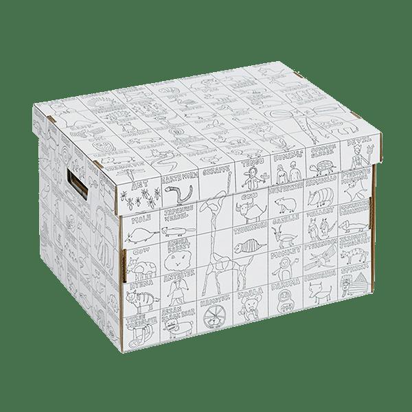 Úložná krabice s omalovánkou ANIMAL LAB