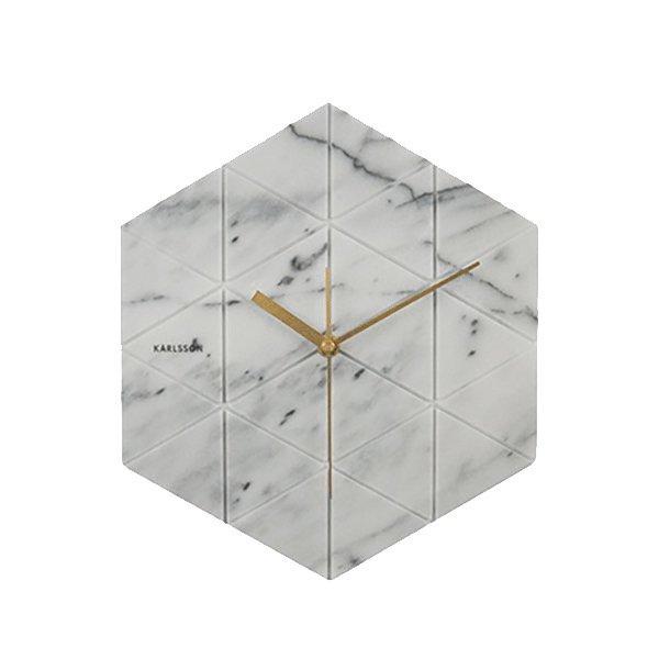 Nástěnné hodiny Marble Hexagon – bílé