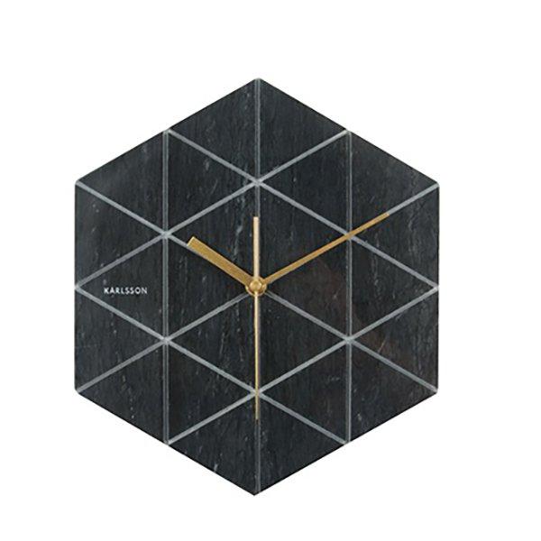 Nástěnné hodiny Marble Hexagon - černé