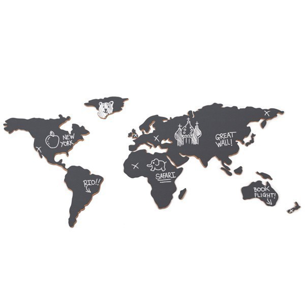 Luckies křídová tabule - mapa světa