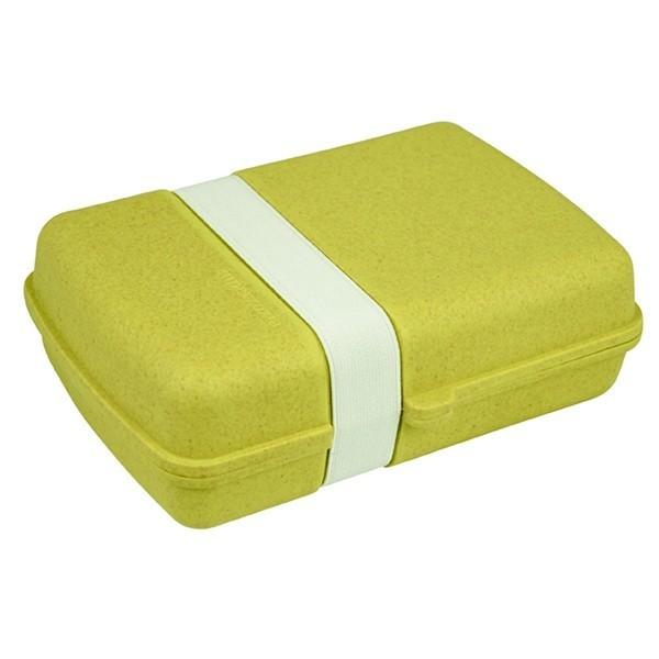 Bambusový box na jídlo s gumičkou - žlutý
