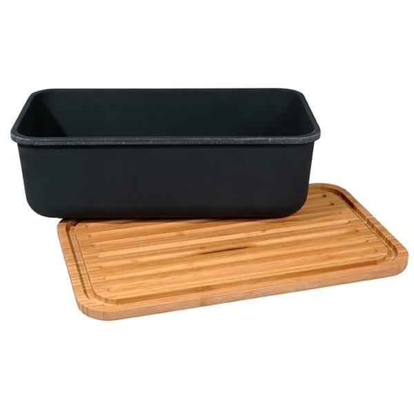 Bambusový chlebník s prkénkem - černý