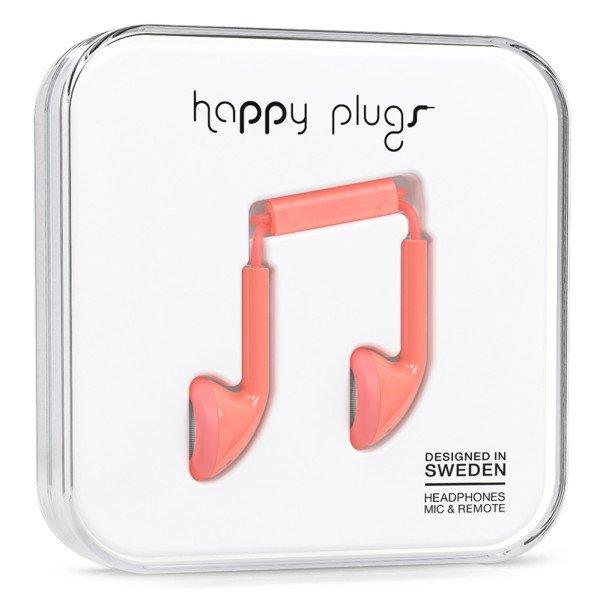 Sluchátka Happy Plugs Earbud - korálová