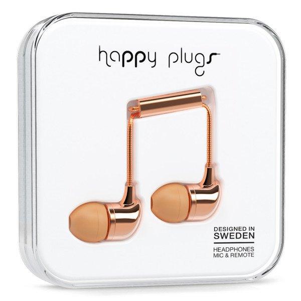 Sluchátka Happy Plugs In-Ear - růžově-zlatá