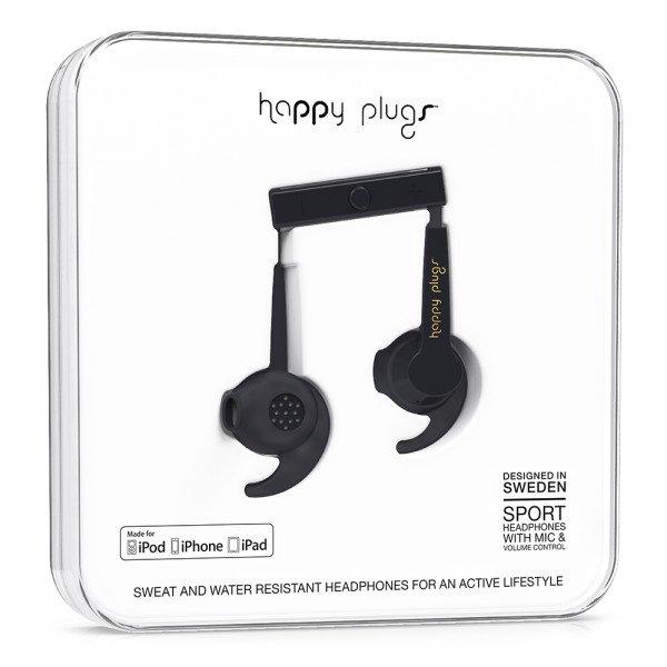 Happy Plugs sportovní sluchátka - černá
