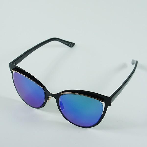 Sluneční brýle San Andreas - černé s modro-zelenými skly