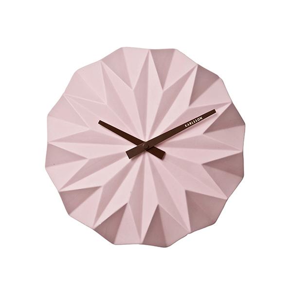 Nástěnné hodiny Origami - růžové