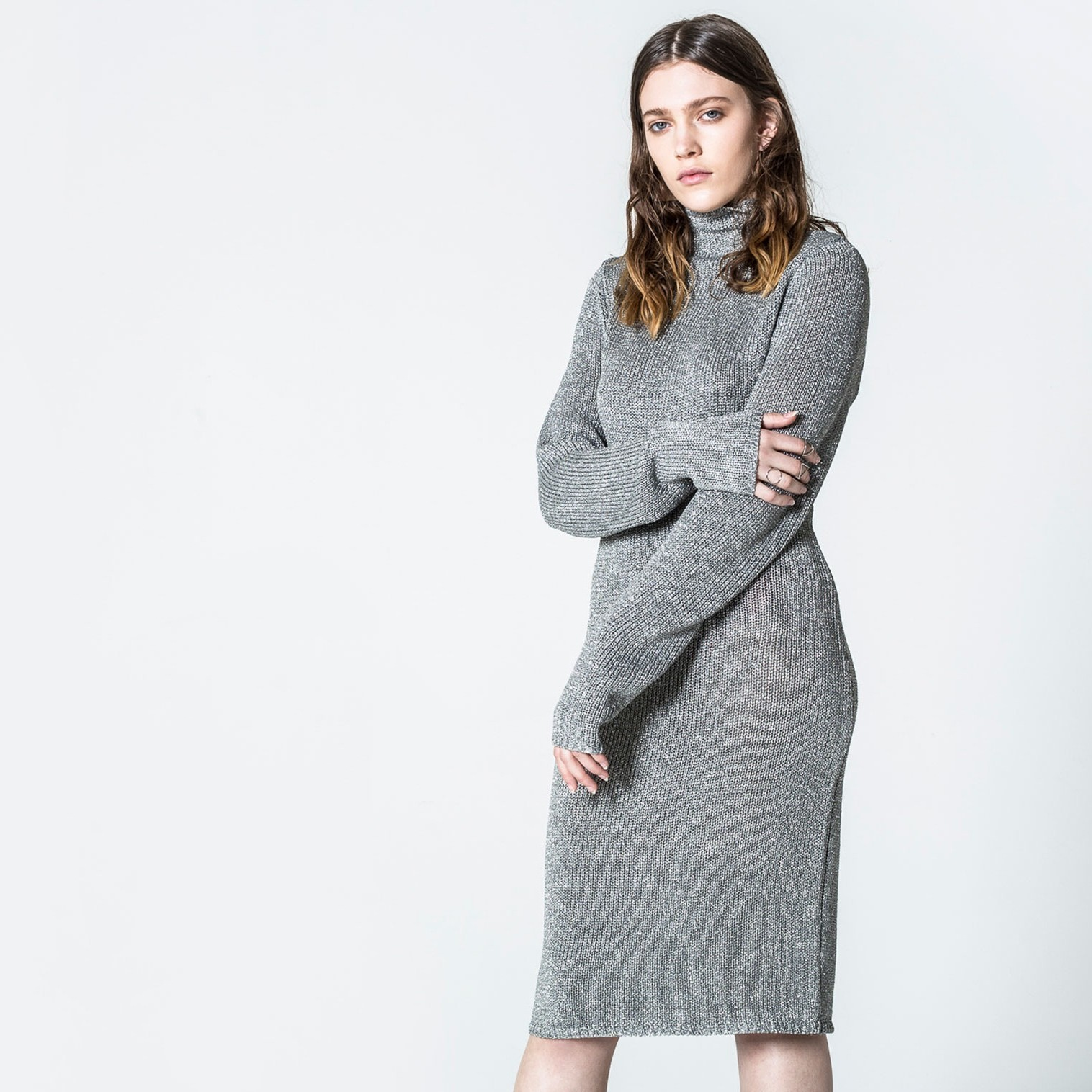 Stříbrné šaty Hard - M