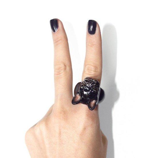 Porcelánový prsten Francouzský buldoček