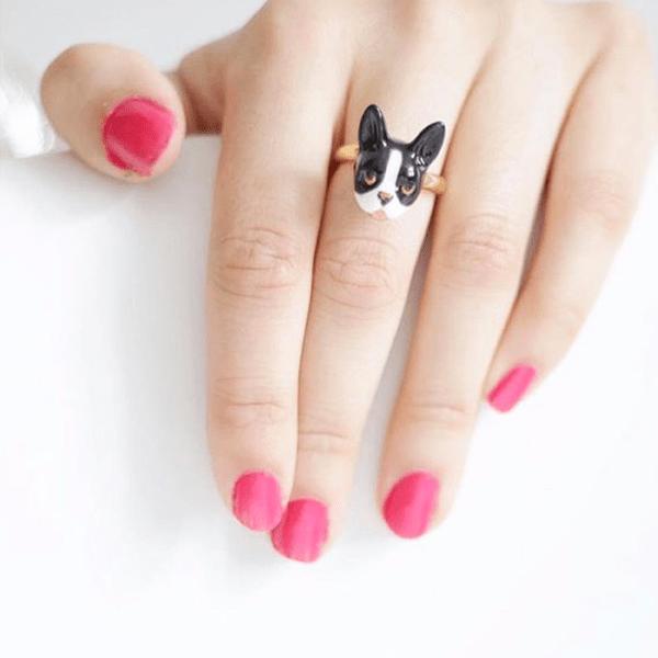 Nastavitelný porcelánový prsten Francouzský buldoček