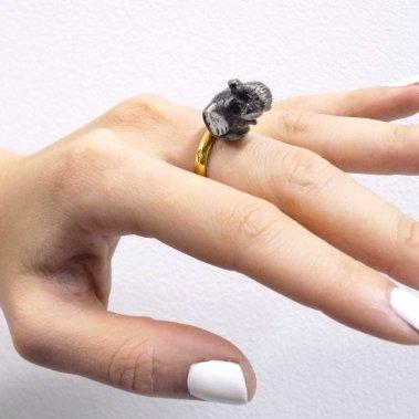 Nastavitelný porcelánový prsten Slon
