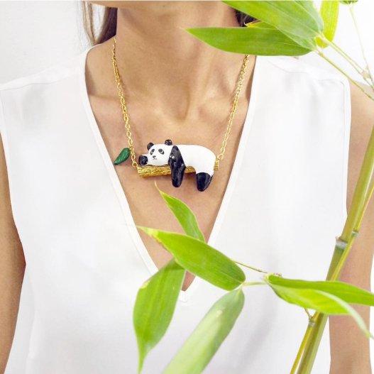Zlatý náhrdelník Panda na větvi