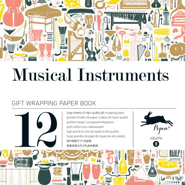 12 unikátních balicích papírů Musical instruments