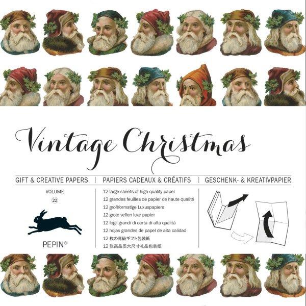 12 unikátních balicích papírů Vintage Christmas