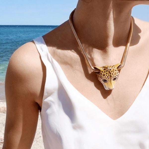 Zlatý náhrdelník Leopard hlava
