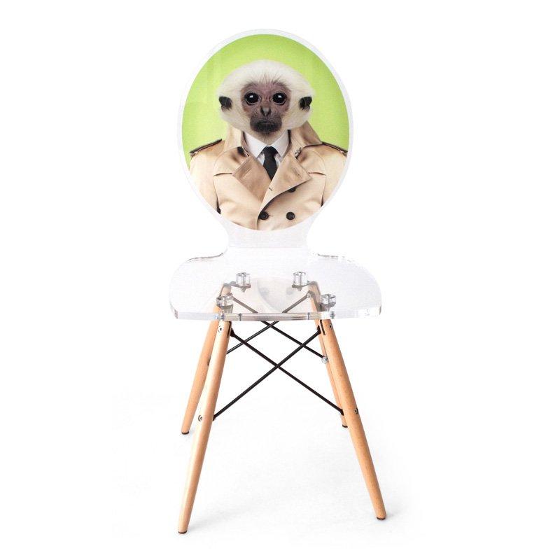 Plastová židle s dřevěnýma nohama Graph - Opice