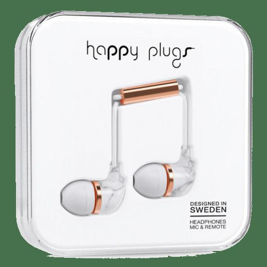 Sluchátka Happy Plugs In-Ear bílý mramor - růžová