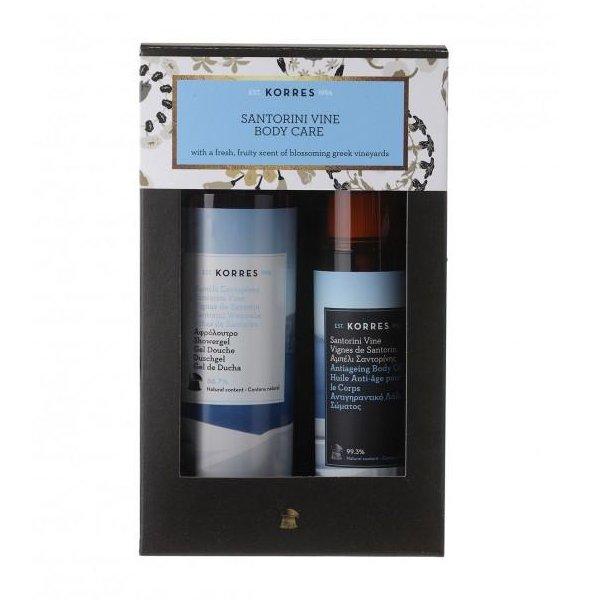 Sada péče o tělo Korres Santorini sprchový gel a suchý tělový olej