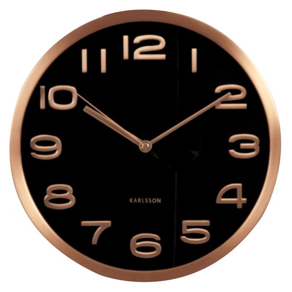 Nástěnné hodiny Maxie měděné - černé