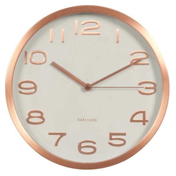 Nástěnné hodiny Maxie mědené – bílé