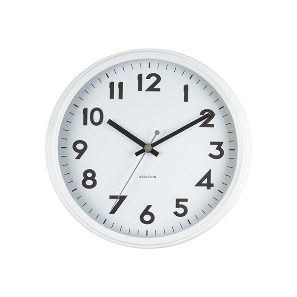 Nástěnné hodiny Badge - bílé