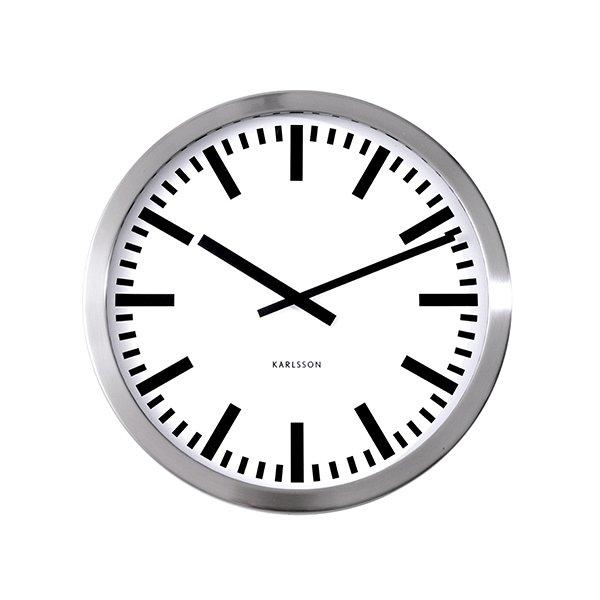 Nástěnné hodiny Station – stříbrné