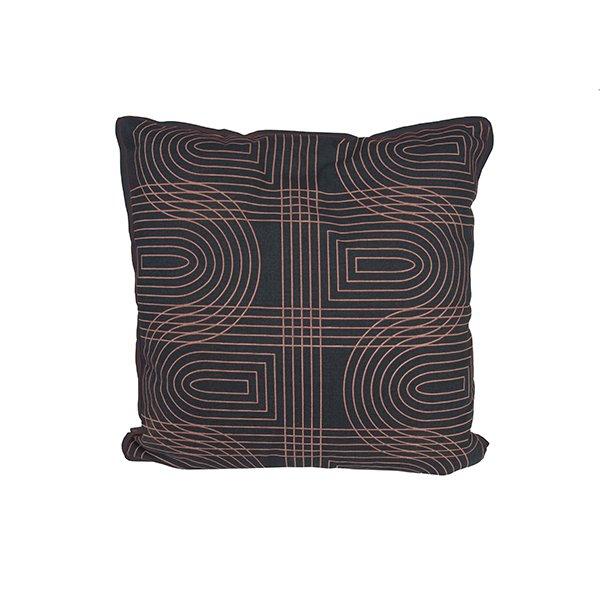 Polštář Retro Grid čtvercový - černý