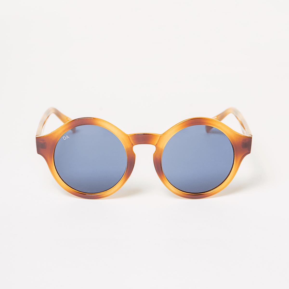 Kulaté brýle s modrými skly