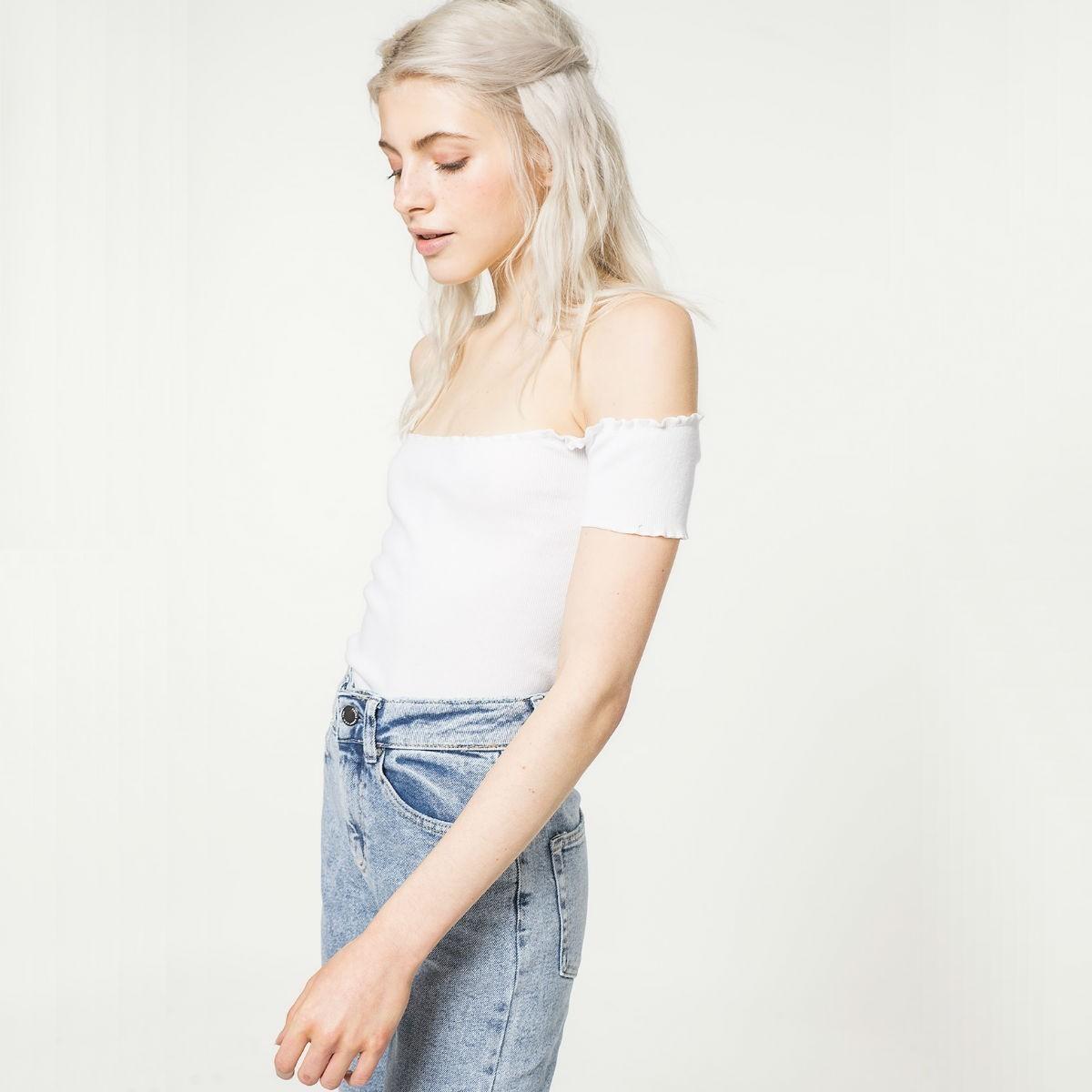 Bílý crop top – L