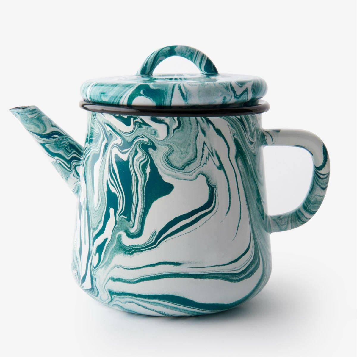 Tyrkysová smaltovaná čajová konvice