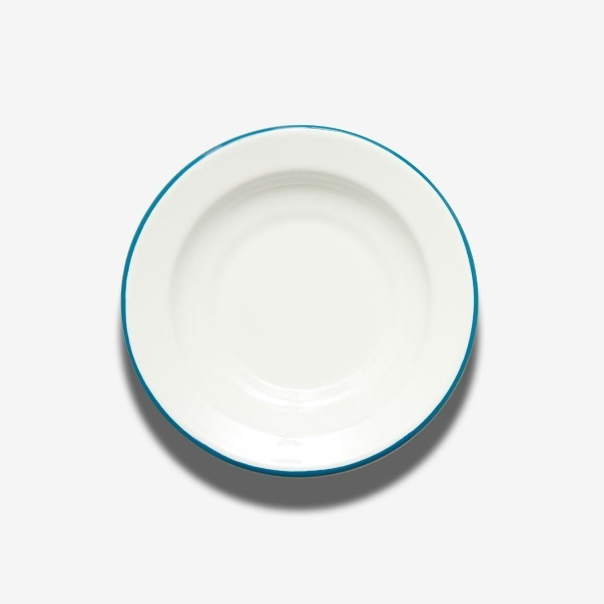 Hluboký talíř s modrou obrubou