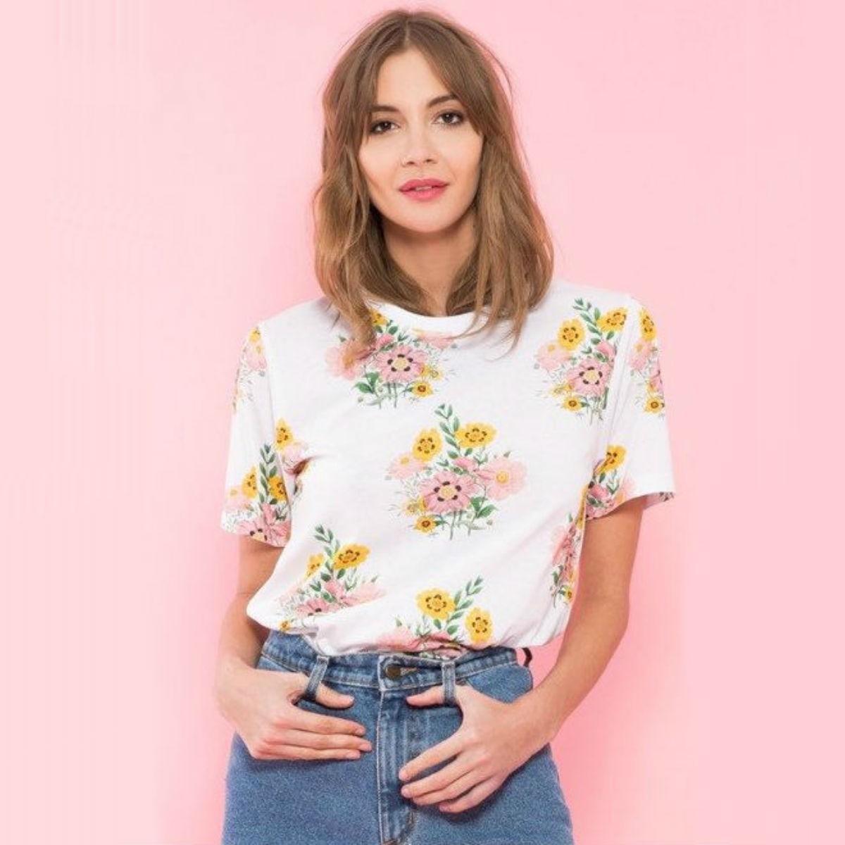 Bílé tričko - Floral Boom - S