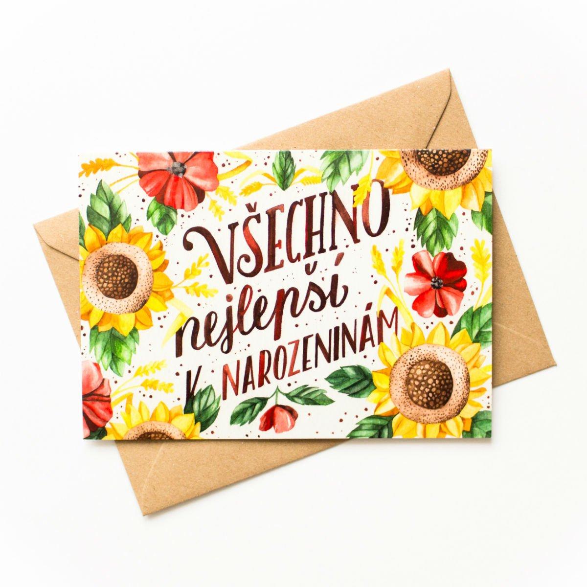 Přáníčko – Všechno nejlepší – květiny