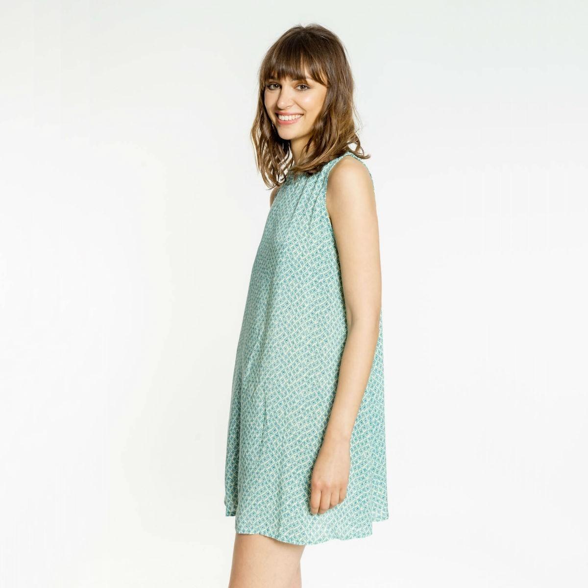 Tyrkysové šaty s odhalenými zády - S