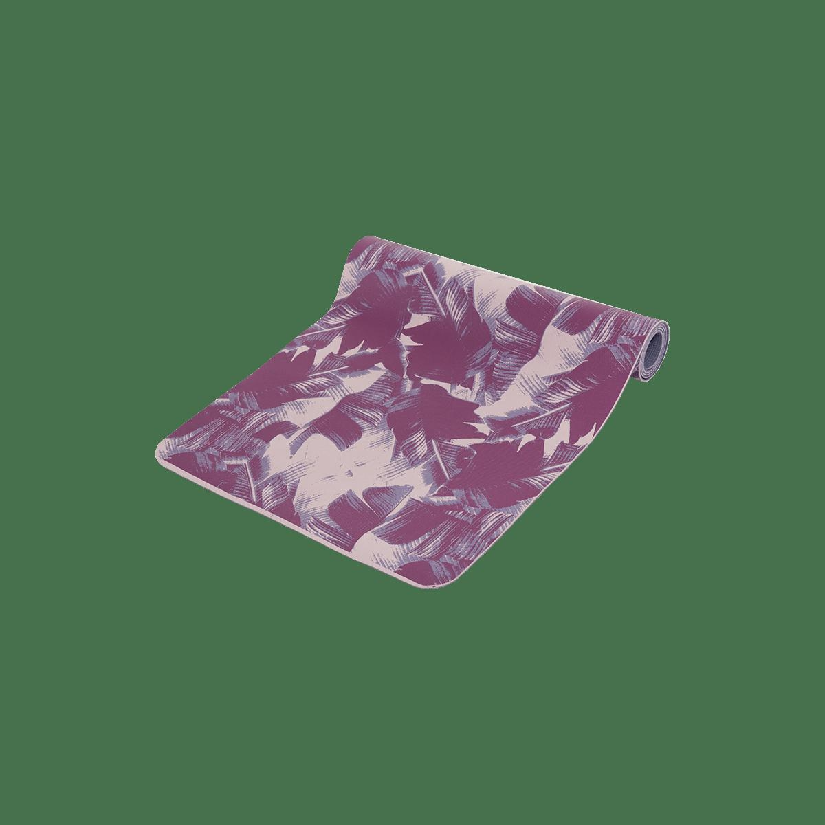 Podložka na jógu s potiskem palmových listů 3 mm - fialová