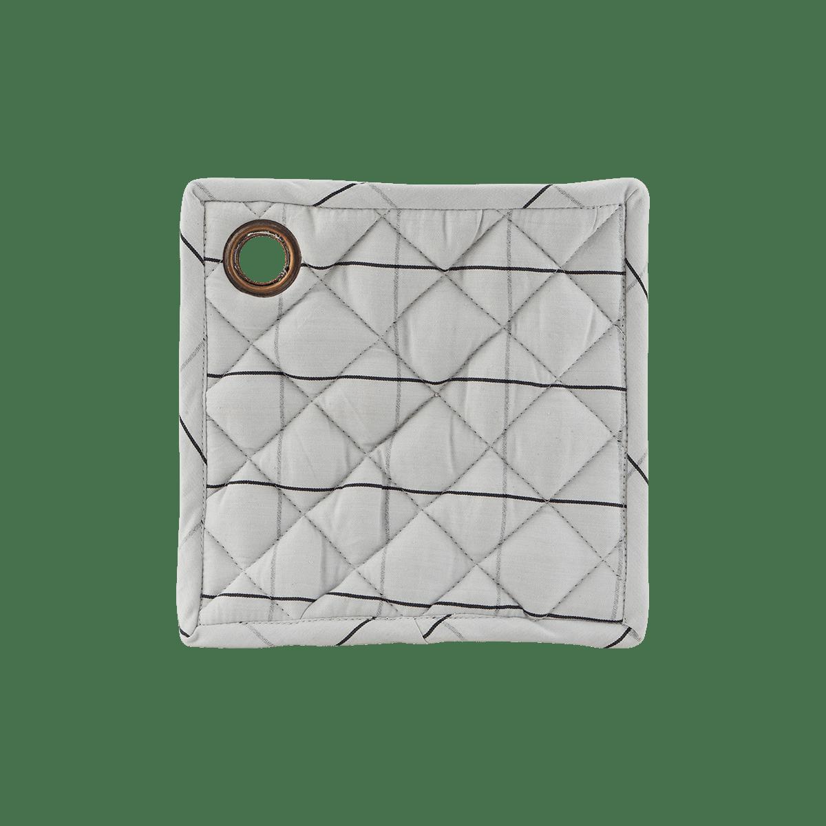 Bíločerná čtvercová chňapka Check - set 2 kusů