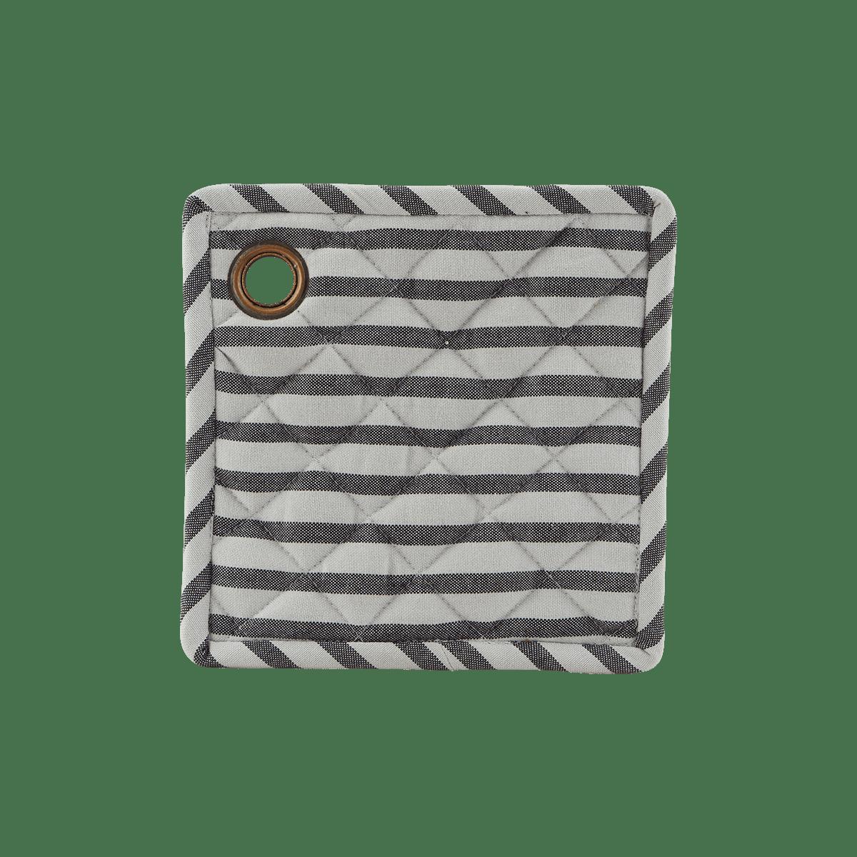Bíločerná čtvercová chňapka Stripe - set 2 kusů