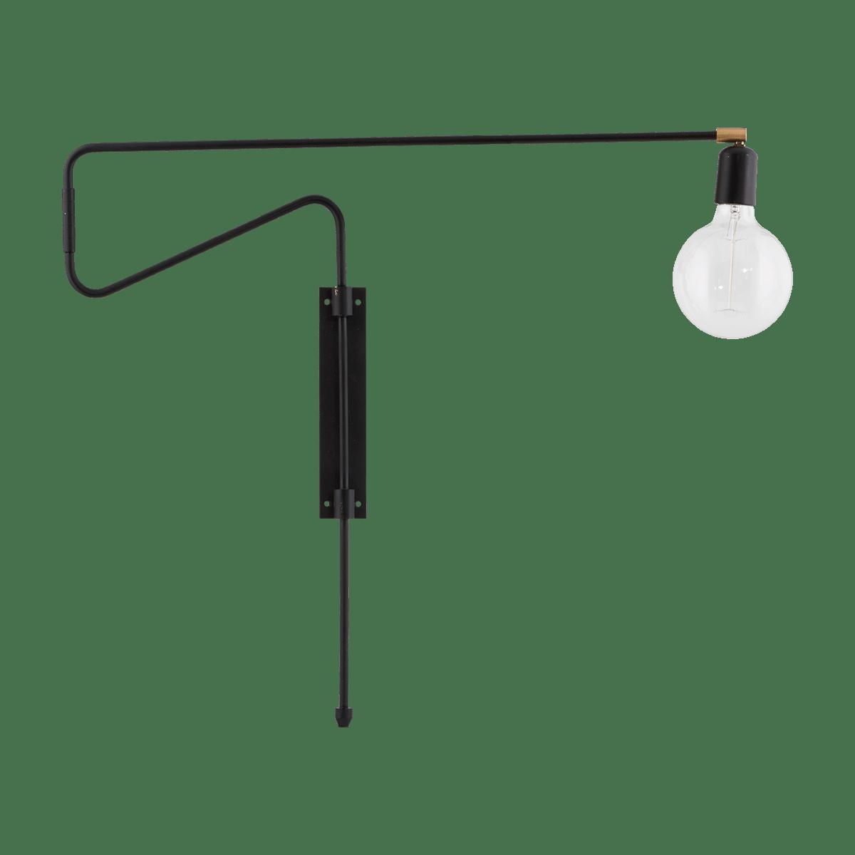 Černá nástěnná lampa Swing 70 cm