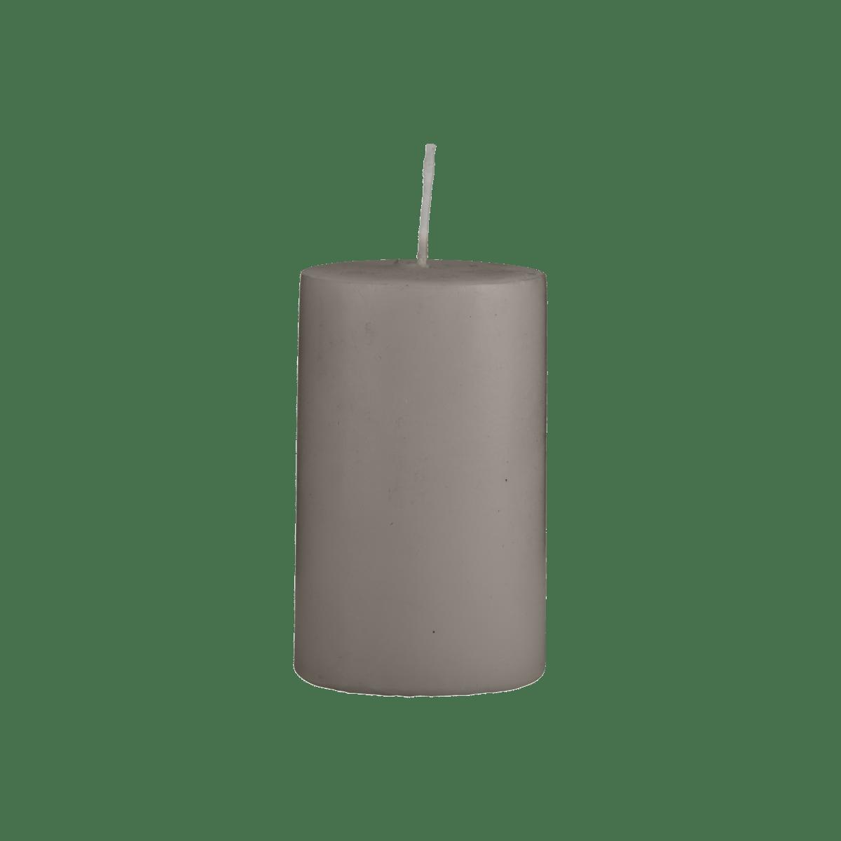 Šedohnědá svíčka 6x10 cm - set 2 kusů