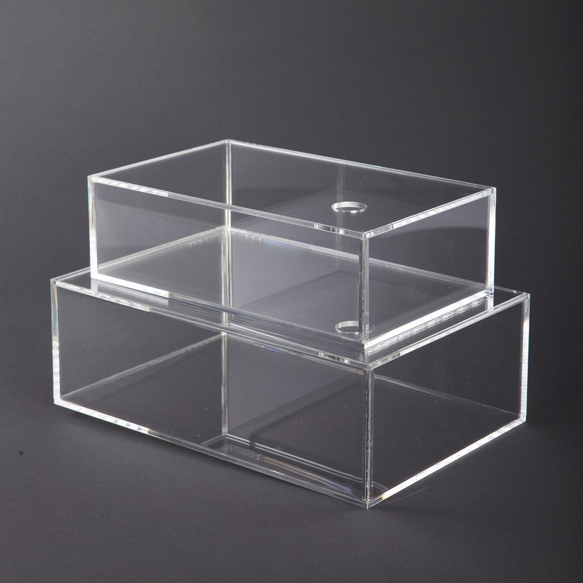 Průhledné krabice s víkem 2 ks