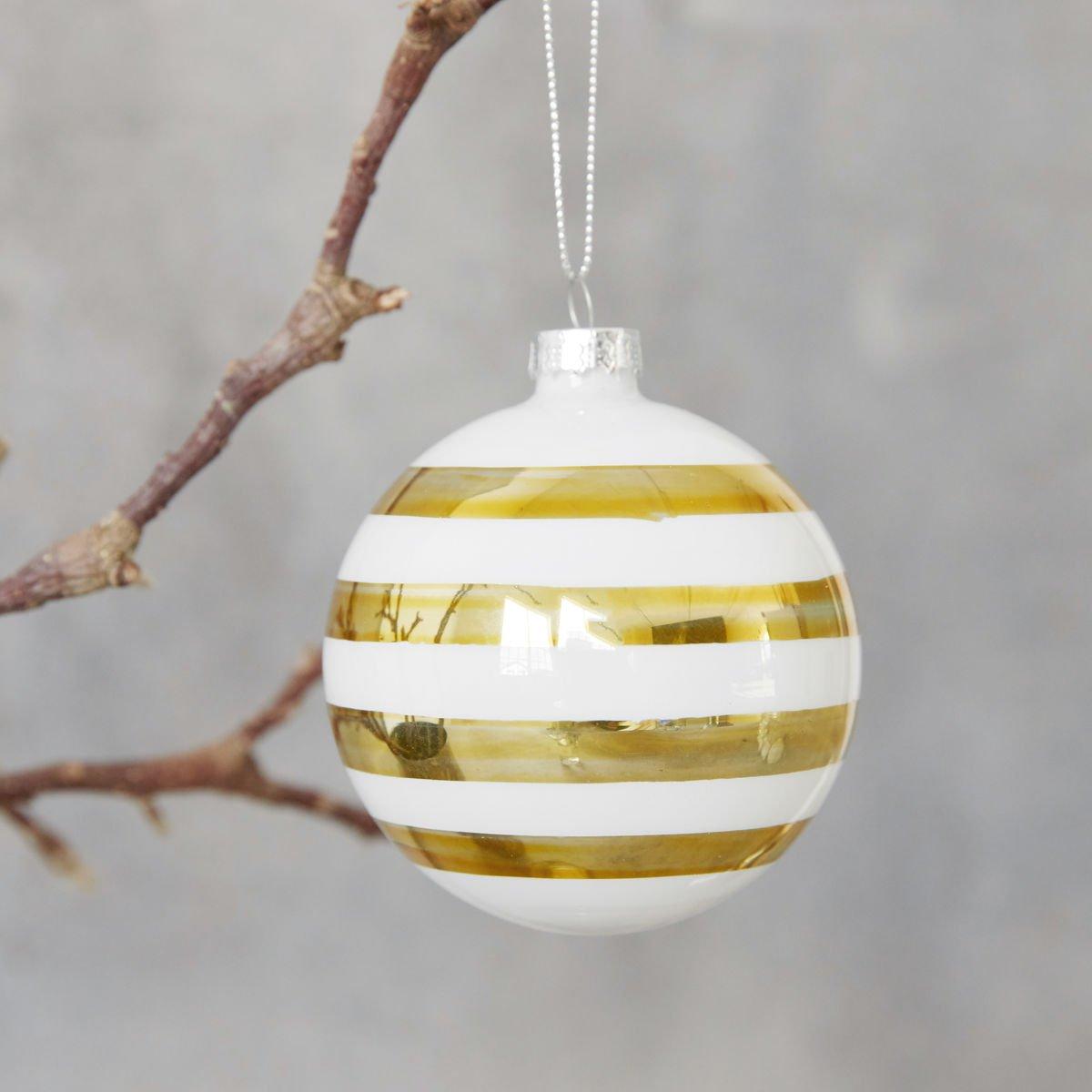 Zlatá dekorační baňka Stribe