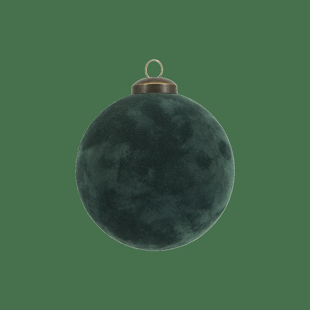 Zelená dekorační baňka Flock velká