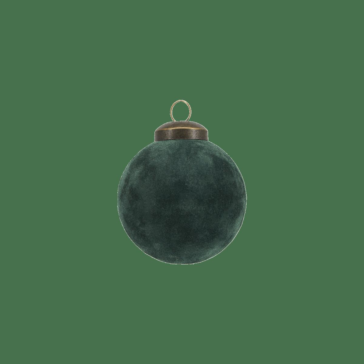 Zelená dekorační baňka Flock malá