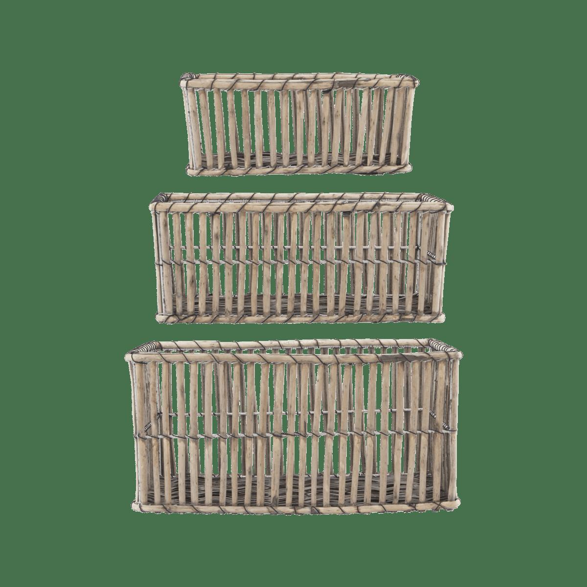 Světle hnědé obdelníkové koše Nest velké