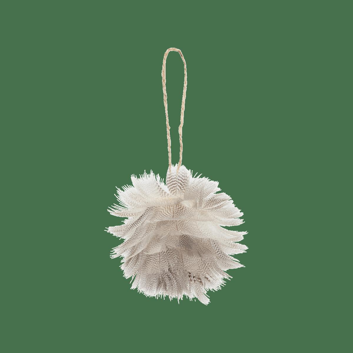 Šedý dekorační míček Feather ball