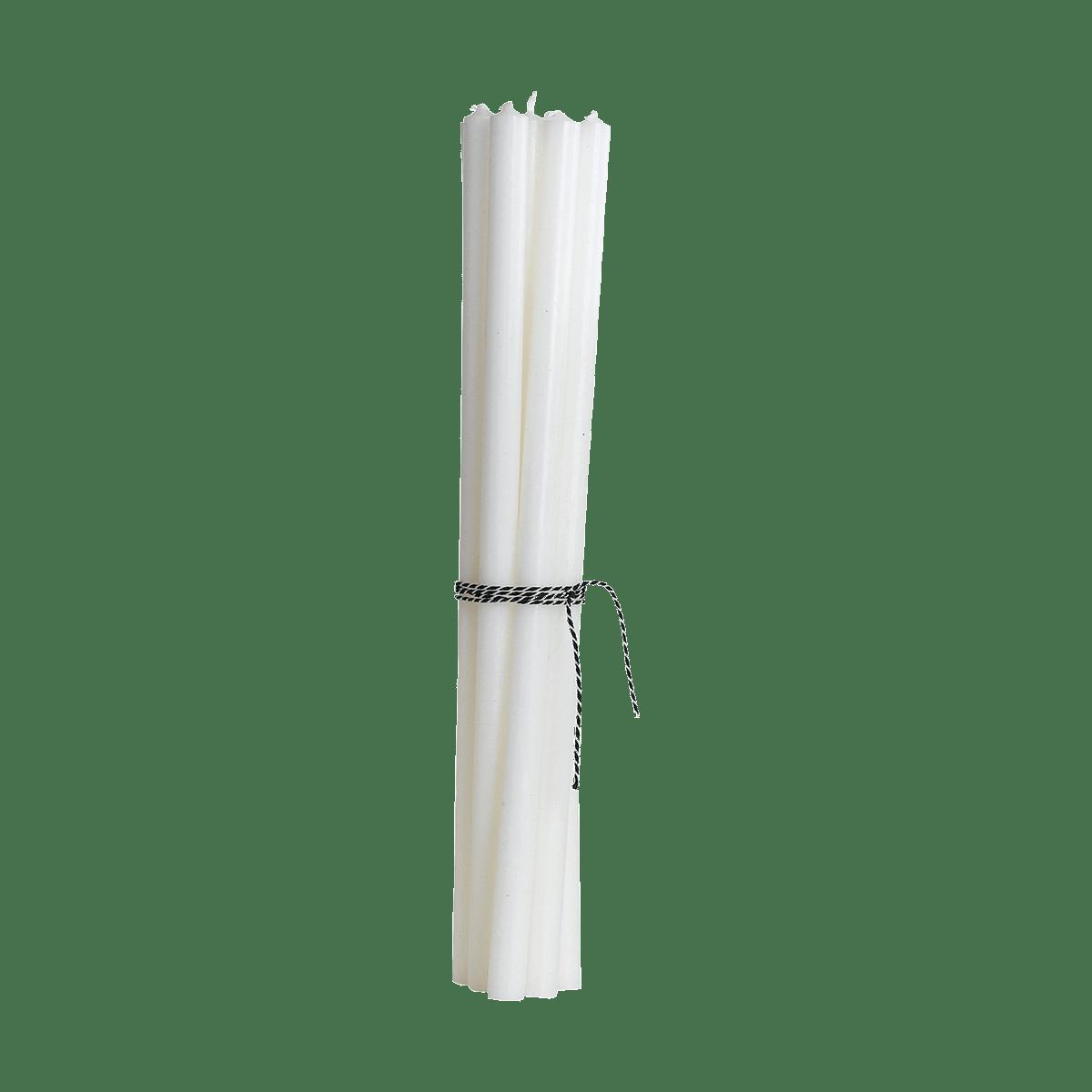 Bílé tenké svíčky - set 10 kusů