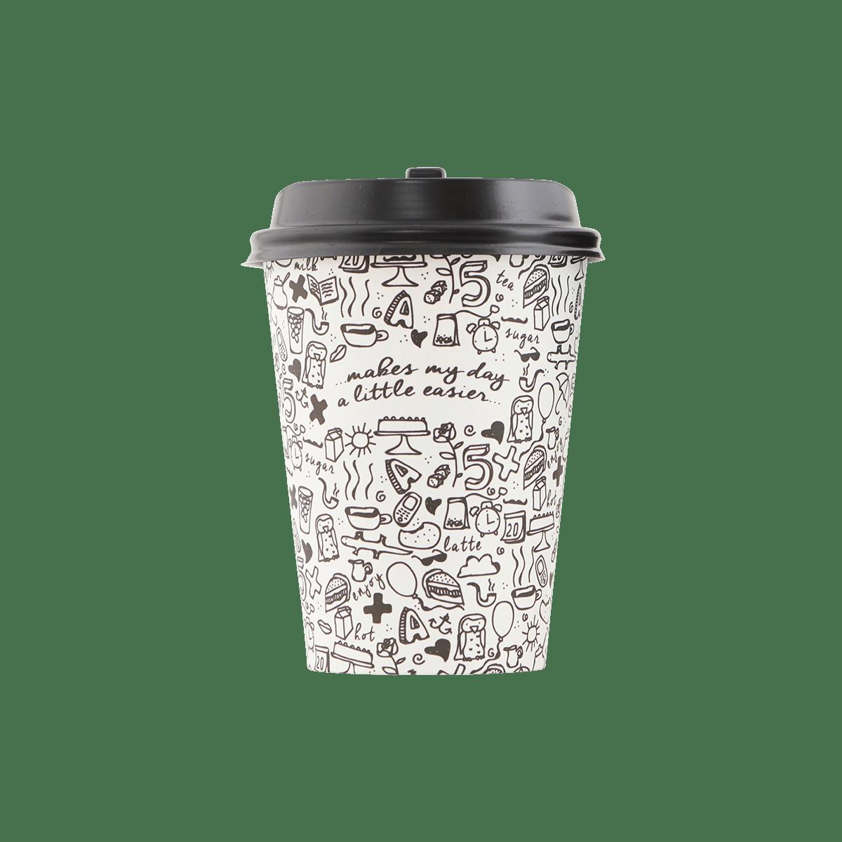Sada hrnků s víčkem Coffee Addiction - černo-bílé