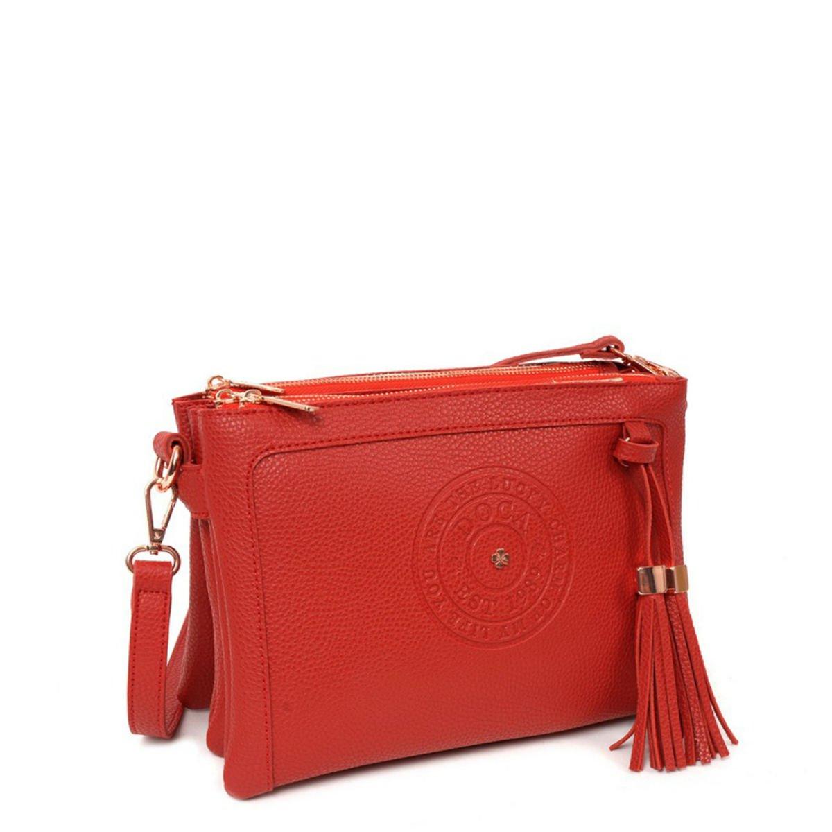 Červená kabelka DOCA - Logo
