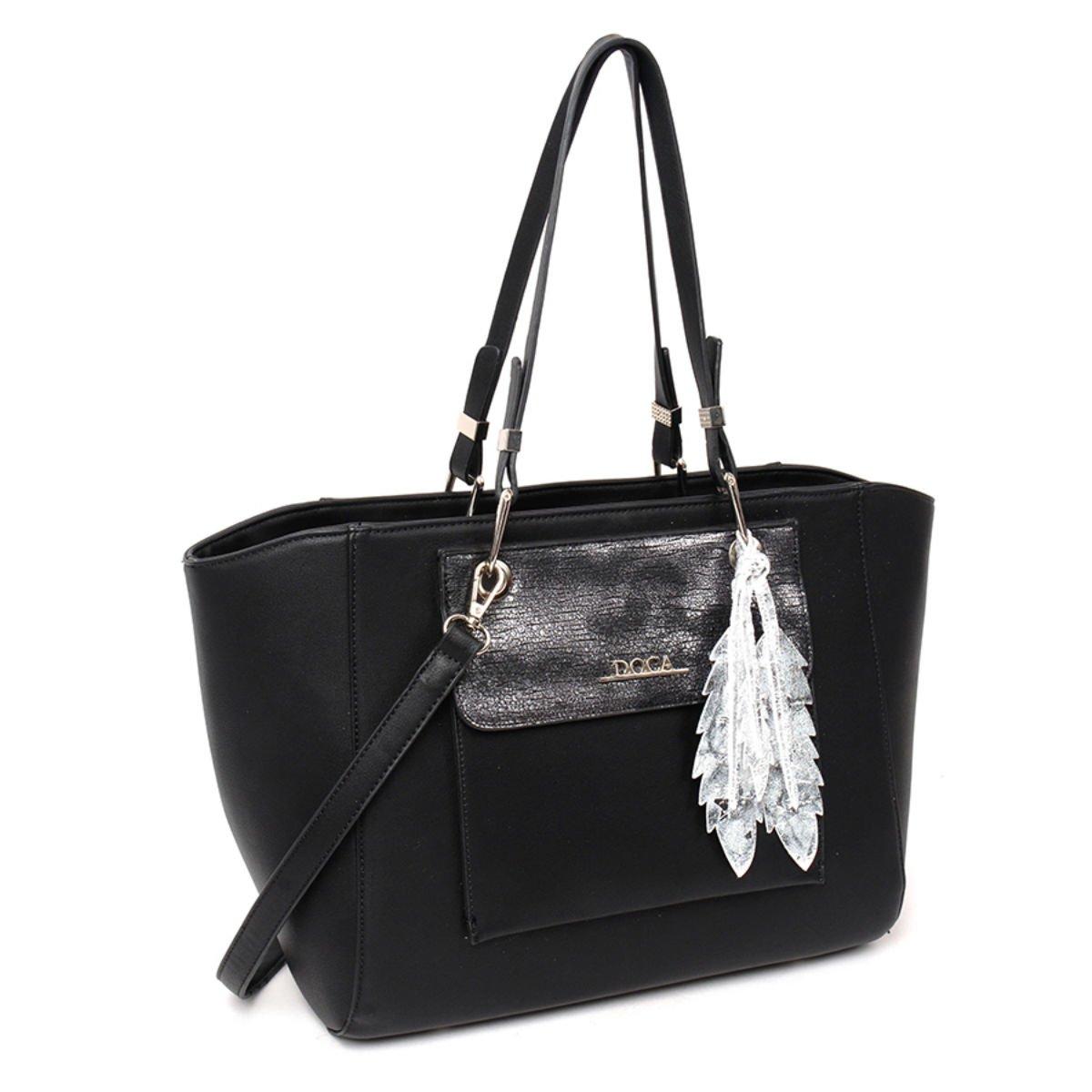 Černá lesklá kabelka DOCA - Feather